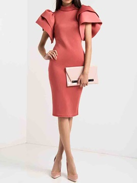 Stand Collar Ruffle Sleeve Back Hollow Women's Bodycon Dress