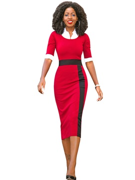 Color Block Half Sleeve Patchwork Women's Bodycon Dress