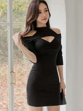 Cold Shoulder Hollow 3/4 Sleeve Women's Bodycon Dress