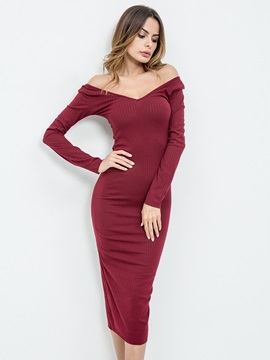 Off Shoulder V-Neck Long Sleeve Women's Bodycon Dress