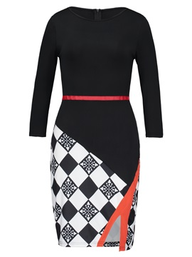 Knee-Length Oblique Collar Plaid Women's Bodycon Dress