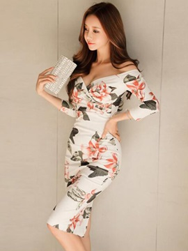 Tidebuy Off Shoulder White Printing Women's Bodycon Dress