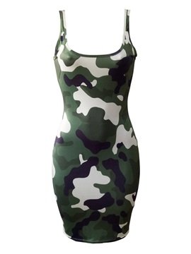 Above Knee Pullover Camouflage Women's Bodycon Dress