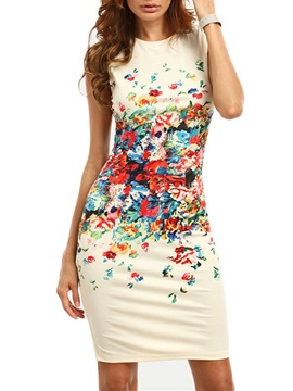 Tidebuy Floral Sleeveless Bodycon Dress