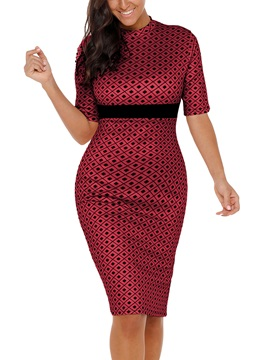 Tidebuy Patchwork Print Pullover Women's Bodycon Dress