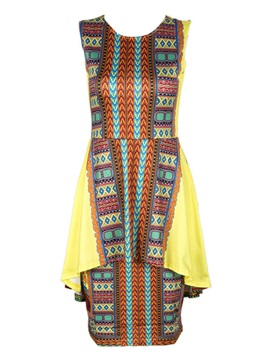 Tidebuy Patchwork Plusee Polyester Women's Bodycon Dress