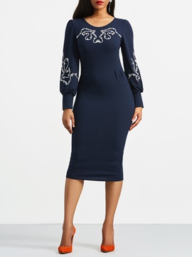 Tidebuy Pencil Embroidery Women's Bodycon Dress