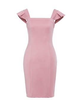Tidebuy Falbala Plain Polyester Women's Bodycon Dress
