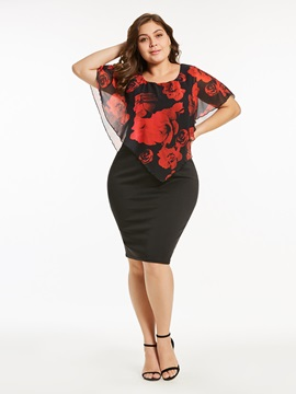 Color Block Plus Size Floral Women\'s Bodycon Dress : Tidebuy.com