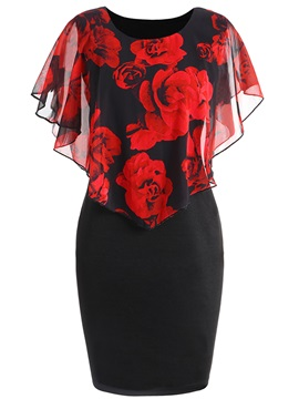 Color Block Plus Size Floral Women's Bodycon Dress