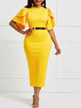 Tidebuy Ruffles Stand Collar Women's Bodycon Dress