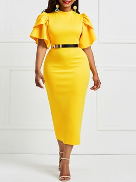 Ruffles Stand Collar Falbala Women's Bodycon Dress