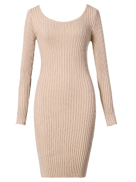Simple Casual Sweater Women's Bodycon Dress