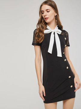 Tie Neck Short Sleeve Women's Bodycon Dress