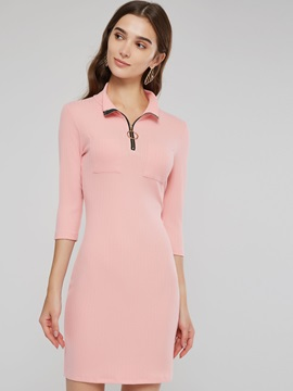 Zipper 3/4 Length Sleeves Women's Bodycon Dress