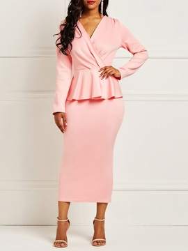 Long Sleeve Pink V Neck Women's Bodycon Dress