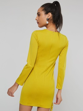 Long Sleeve Hollow Plain Women's Bodycon Dress