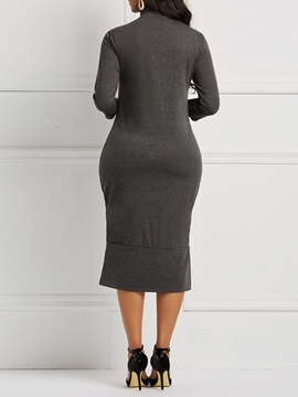 Turtleneck Western Plain Women's Bodycon Dress