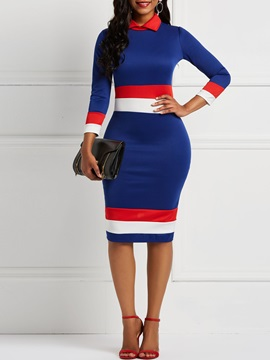 Long Sleeve Polo Neck Color Block Women