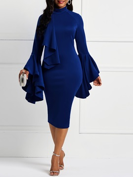 Stand Collar Pullover Patchwork Casual Women's Bodycon Dress
