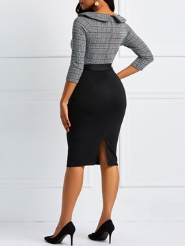 Single-Breasted Patchwork Women's Casual Dress