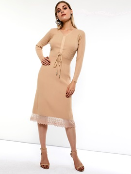 V-Neck Lace Spring Women's A-Line Dress