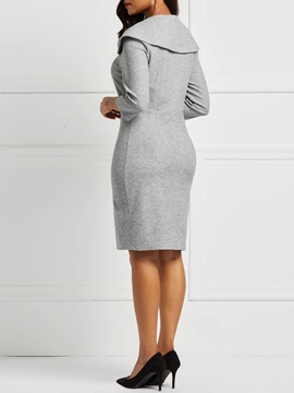 Knee-Length Patchwork Plain Pullover Women's Bodycon Dress