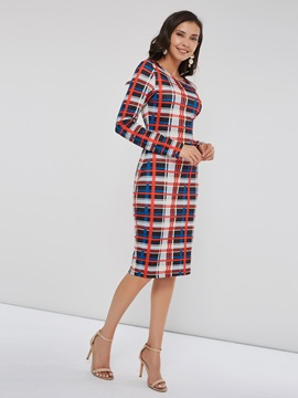Round Neck Print Plaid Women's Bodycon Dress
