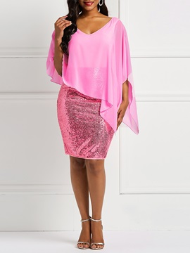 Batwing Sleeve V-Neck Sequins Women's Bodycon Dress