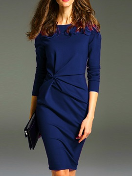 Knee-Length Pleated Polyester Women's Bodycon Dress