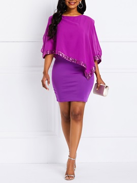 Above Knee Pullover Falbala Sequins Women's Bodycon Dress