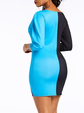 Above Knee Patchwork Sexy Fall Women's Bodycon Dress