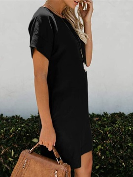 Knee-Length Pocket Short Sleeve Plain Women's Bodycon Dress