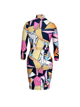Knee-Length Stand Collar Patchwork Women's Bodycon Dress
