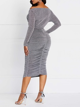 Mid-Calf Long Sleeve Plain Long Sleeve Women's Bodycon Dress