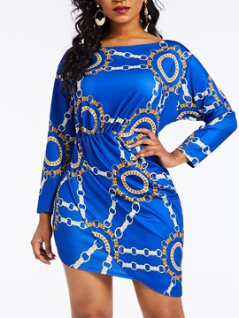 Above Knee Long Sleeve Print Pullover Bodycon Women's Dress
