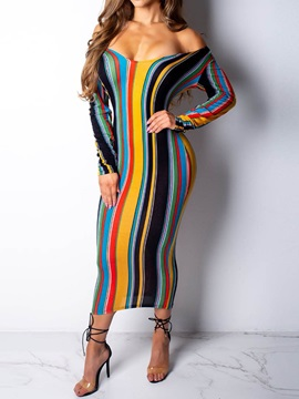 Mid-Calf Print Long Sleeve Off-The-Shoulder Stripe Women