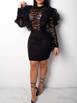 Above Knee Long Sleeve Hollow Spring Lace Women's Bodycon Dress