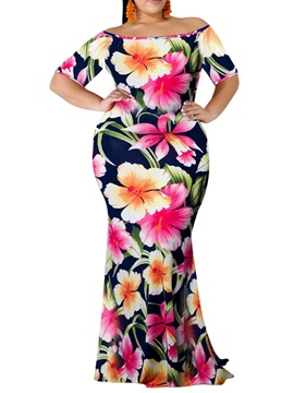Floor-Length Print Off Shoulder Women's Bodycon Dress