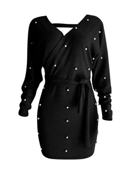 Above Knee V-Neck Bead Pullover Mid Waist Women's Dress