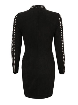 Long Sleeve Above Knee Stand Collar Sexy Bodycon Women's Dress