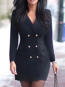 Notched Lapel Above Knee Long Sleeve Regular Double-Breasted Women's Dress