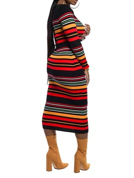 Long Sleeve Mid-Calf Round Neck Casual Pullover Women's Dress