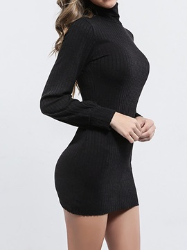 Turtleneck Long Sleeve Above Knee Casual Bodycon Women's Dress
