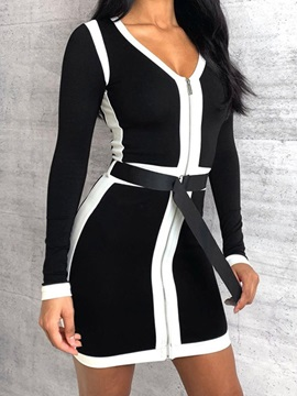 Patchwork V-Neck Above Knee Party/Cocktail Mid Waist Women's Dress