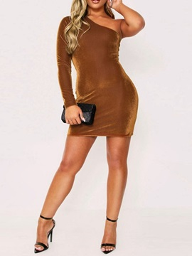 Above Knee Long Sleeve Oblique Collar Pullover Bodycon Women's Dress