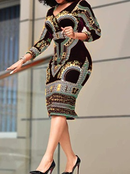 Three-Quarter Sleeve Patchwork Mid-Calf Geometric Bodycon Women's Dress