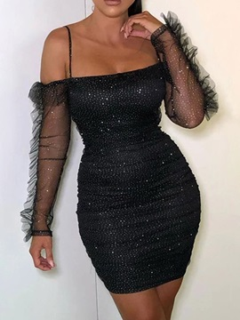 Above Knee Long Sleeve Mesh Summer Bodycon Women's Dress