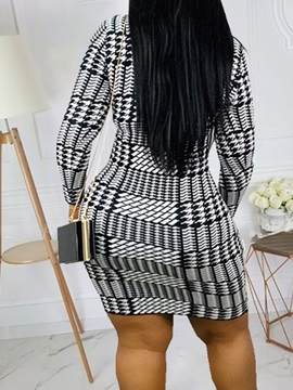 Nine Points Sleeve Round Neck Above Knee Houndstooth Casual Women's Dress