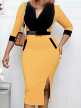 Split Three-Quarter Sleeve Mid-Calf Bodycon Women's Dress